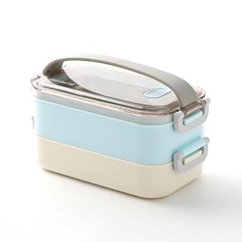 日本式弁当箱ステンレス二重弁当箱大人学生食堂蓋付き携帯型電子レンジ加熱防止フィットネス弁当箱寿司ケース出勤分格ランチボックス家電青い二重1600 mlはステンレスの内胆を含んでいません。